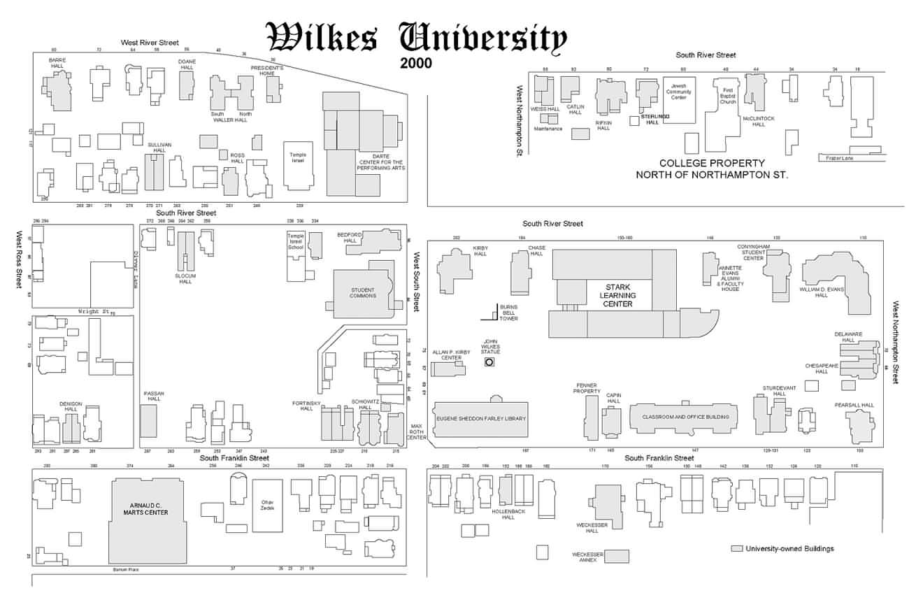 2000 map of Wilkes University campus