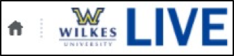 Top-left corner of Daylight, featuring a home icon that looks like a house, a small gray dotted vertical line, the Wilkes logo, and the text LIVE.